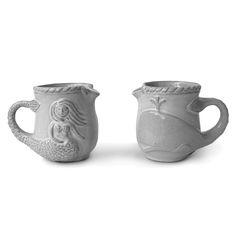 Utopia whale/ mermaid creamer 32.00 stoneware with sheer white glaze