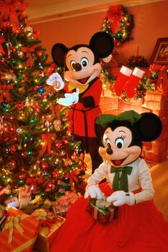 Minnie and Mickey at Christmas time
