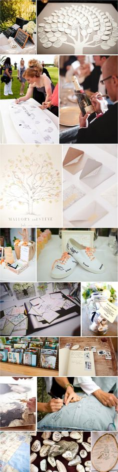 Alternative guest book ideas, for weddings. I love these, the section of tree stump to write on and the leaves idea too.