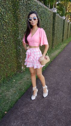 #Pink #PinkDay Classy Summer Outfits, Casual Outfits, Cute Outfits, Cute Little Girl Dresses, Girl Fashion, Fashion Outfits, Dresses For Work, Summer Dresses, Blouse Outfit