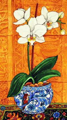 Orchid and Minaret 1 Indian Floral Paintings