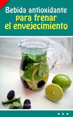 Bebida antioxidante para frenar el envejecimiento #agua #saborizada #bebida #saludable #envejecimiento #rejuvenecimiento #antioxidantes #vitaminas #lima #moras