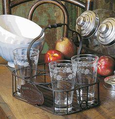 vintage inspired metal glass carrier, white ice cream bowls, apples, french country, still life