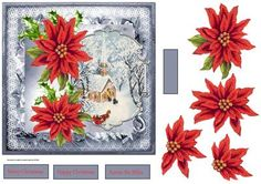 red poinsettia vintage Christmas 7x7 card on Craftsuprint designed by Angela Wake - red poinsettia vintage Christmas 7x7 card with poinsettia decoupage - Now available for download!