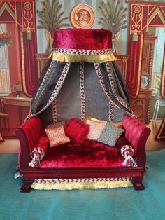 Elaborate Doll House Day Bed with Canopy Artist Made (jt-gorgeous bed by Serena..second name unknown)