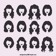 Silhouettes of female haircuts Freepik.com-Salon-pin-2