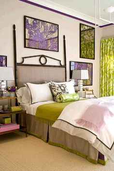I absolutely love the stenciled mirrors and combination of green and purple
