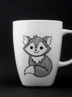 fox mug in black and white, fox, fox mug, fox cup, personalized mug, woodland mug, christmas gift