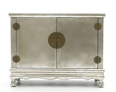 Silver lacquered chinese cabinet.
