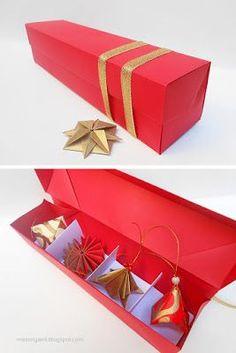 mas origami: Caja con adornos navideños
