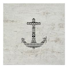 Aztec Nautical Anchor Black White Vintage Wood Posters