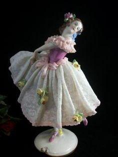 dresden figurines | VOLKSTEDT DRESDEN PORCELAIN LACE BALLERINA FIGURINE