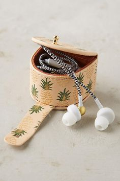 A little earbud holder you'll want to show off. 29 Pineapple Gifts As Sweet As The Actual Fruit Leather Accessories, Tech Accessories, Holiday Gift Guide, Holiday Gifts, Accessoires Divers, Pineapple Gifts, Cool Things To Buy, Stuff To Buy, Leather Craft