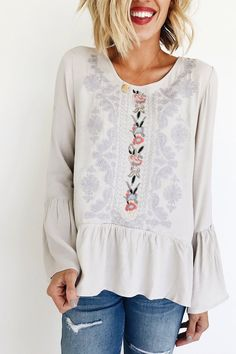 Embroidered Grey Bell Sleeve Top | ROOLEE