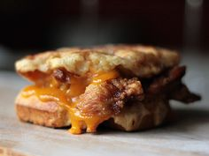 fried chicken and waffle grilled cheese!  the only thing missing is bacon ;)  sigh. a girl can dream....