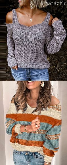Women's Dew Shoulder Sweater – The Best Ideas Formal Winter Outfits, Hot Fall Outfits, Trendy Outfits, Fashion Outfits, Black Denim Skirt Outfit, Loose Knit Sweaters, Workout Attire, Cute Fashion, Clothes For Women