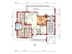Dom parterowy, niepodpiwniczony, z garażem jednostanowiskowym, przeznaczony dla 3-4 osobowej rodziny.