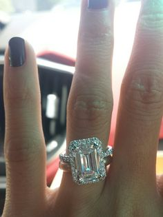 3 carat emerald cut on size 4 finger update^^ - Weddingbee