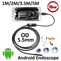 5.5mm Len Android USB Endoscope Camera 5M 3.5M 2M 1M IP67 Waterproof Snake Tube Inspection Android OTG USB Borescope Camera 6LED #Affiliate
