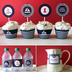 Nautical Birthday - Printable Party - Baby Shower - First Birthday - sail boat - 1st, 2nd, 3rd birthday - Boy - Girl - DIY Printable