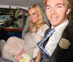Mr and Mrs: The couple were all smiles as they made their way to their reception...