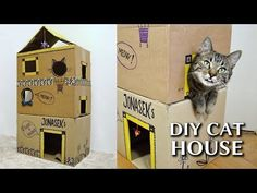 Your cat will love to play through her very own house, which you can construct from three cardboard boxes in just a few simple steps.