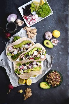 Asian Fish Tacos with Black Sesame Slaw