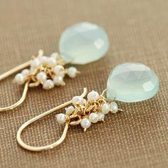 Seafoam Chalcedony Seed Pearl Earrings in 14k Gold Fill, Handmade Gemstone Pearl Earrings, aubepine. $44.00, via Etsy.