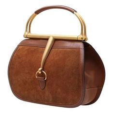 GUCCI VINTAGE HORSEBIT BROWN SUEDE HANDBAG. VINTAGE PARIS e-shop Products Detail