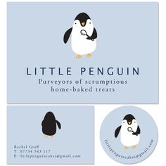 Little Penguin logo design Cake Business, Business Logo, Business Card Design, Penguin Logo, Penguin Tattoo, Penguin Dance, Sticker Logo, Logo Stickers, Cake Logo