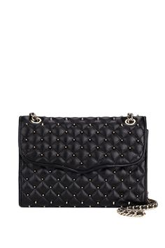 Black Quilted Affair with gold details and rivets. Quilted affair with studs by Rebecca Minkoff - Shoulder bag - Bags