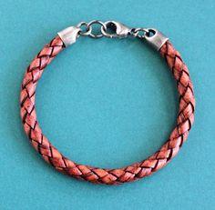 Men's Red Leather Bracelet, Sterling Silver Clasp