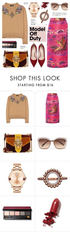 """It-Girl: Model Off Duty"" by anyasdesigns ❤ liked on Polyvore featuring Dolce&Gabbana, Gucci, Prada, Chloé, Movado, Links of London, Bobbi Brown Cosmetics and LAQA & Co."