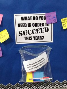 Interactive Bulletin Board: What do you need to succeed this year? Students fill out post-its and add to board Counselor Bulletin Boards, Interactive Bulletin Boards, School Bulletin Boards, Middle School Counseling, School Counselor, Motivational Bulletin Boards, Catholic Schools Week, How To Motivate Employees, Guidance Lessons