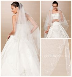 One-tier Tulle Cut Edge / Pearl Trim Edge Chapel Wedding Veil With Pearls $19.99