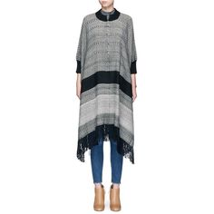 Apiece Apart 'Anni A.' fringe hem alpaca blend poncho ($575) ❤ liked on Polyvore featuring outerwear, apiece apart and striped poncho
