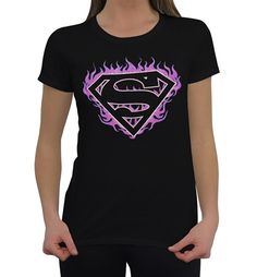 Superman Pink Flames Juniors T-Shirt made from 100% cotton and based on DC Comics on Man of Steel! This t-shirt is for the ladies.