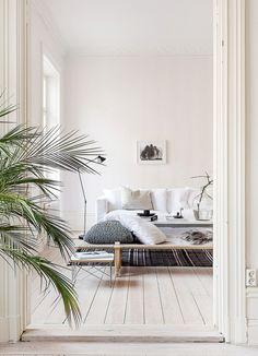 appartment interior white palm tree