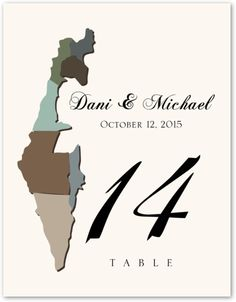 Map of Israel :: Weddings :: Table Numbers