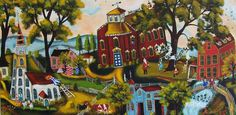 Folk Art Painting Original Acrylic Primitive School by sharoneyres