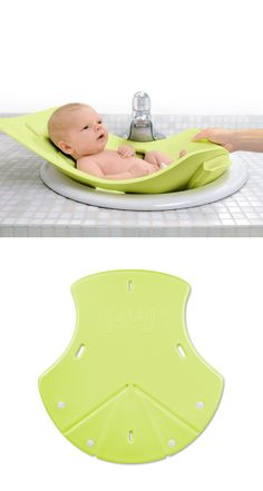 Infant Bath Tub by Puj. Made from a soft and durable foam that folds and conforms to almost any sink, the Puj Tub cradles and protects the baby during bath time. BPA and PVC-free.