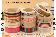 Version J -  All About Paris Washi tapes von Fabric In Wonderland auf DaWanda.com