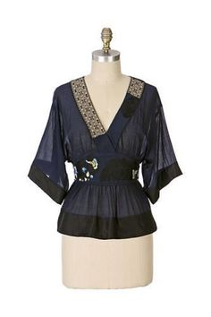Anthropologie LITHE Blackwing Silk Kimono Embroidered Asian Blouse Top 2 XS #Lithe #Blouse