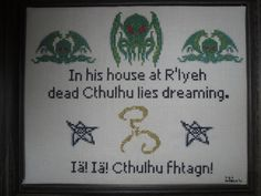 Cthulhu Lies Dreaming Cross Stitch Pattern. https://www.etsy.com/listing/120404745/cthulhu-lies-dreaming-cross-stitch