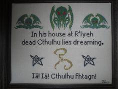 Cthulhu Lies Dreaming Cross Stitch Pattern. https://www.etsy.com/listing/120404745/cthulhu-lies-dreaming-cross-stitch