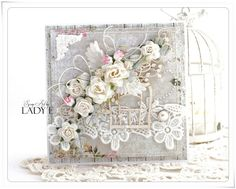 Scrap Art by Lady E: Cards with Bird Cage Wild Orchid Crafts DT