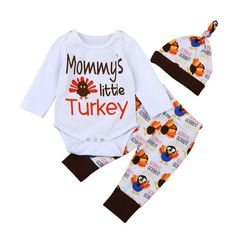 bea56f7d020 MUQGEW Thanksgiving Set Long Sleeve Letter Onesie Tops+Pants Hat Infant  3Pcs. Bodysuit TopsBaby BodysuitThanksgiving BabyGirls Thanksgiving Outfit Toddler ...