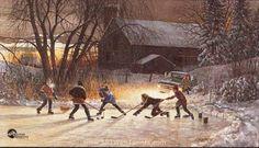 Hockey Night in Canada by Douglas Laird ~~ via Seasonal Hearth: Winter Szenen, Start Of Winter, Winter Christmas, Vintage Christmas, Winter Ideas, Christmas Time, Christmas Crafts, Artist Brush, Artist Painting