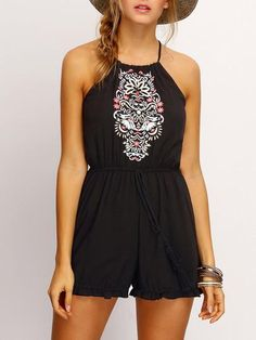 Summer Black Halter Embroidered Flounce Hem Romper With Drawstring