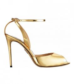 Paul Andrew Europeaus Metallic Patent-Leather Pumps // Gold heels